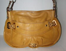 B MAKOWSKY Mustard Yellow Genuine Leather Satchel Crossbody Handbag Zip Top