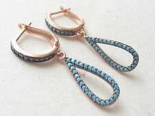 UNIQUE TURKISH TURQUOISE ROSE GOLD 925K STERLING SILVER DROP EARRINGS