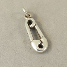.925 Sterling Silver 3-D SAFETY PIN CHARM You are Safe with Me NEW 925 BA22