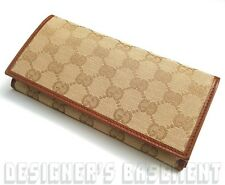 GUCCI camel Leather & GG Canvas CONTINENTAL zip pouch snap Wallet NIB Authentic!