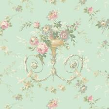 Wallpaper Designer Victorian or French Floral Urn Pearlized Green Background
