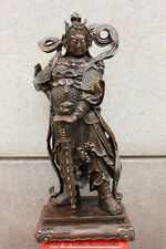 China Pure Bronze Buddhism Wei tuo Veda Door-god warrior SKANDA Buddha Statue
