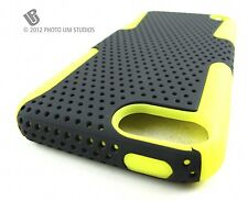 BLK YELLOW PERFORATED RUBBERIZED HARD CASE COVER APPLE IPOD TOUCH 5 5TH