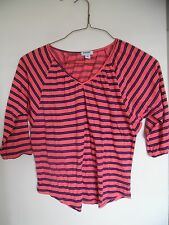 Ladies OLD NAVY Pink Striped Batwing Dolman  Sleeve Shirt Top Blouse  Sz XS