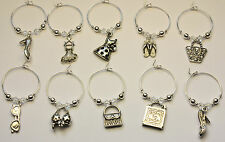 10 Wine Glass Charm Rings GIRLIE with SWAROVSKI Crystal Hen Party Wedding