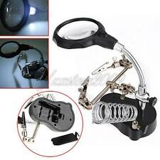 New 3.5X&12X Third Helping Hand Clip Type LED Magnifying Magnifier Top Glass