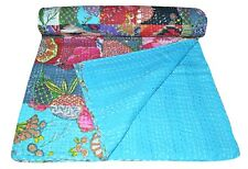 INDIAN VINTAGE KANTHA QUILT COTTON PATCHWORK BEDSPREAD BLANKET THROW QUEEN QUILT