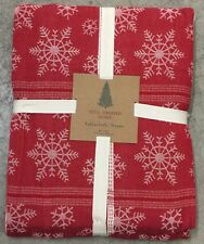 "Well Dressed Home Red Snowflake Cloth Tablecloth 60"" X 102"" Christmas Holiday"