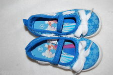 Toddler Girls Shoes BRIGHT BLUE SNOWFLAKE Slip On Canvas DISNEY FROZEN Summer 7