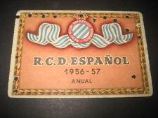 CARNET FUTBOL R. C. D. ESPAÑOL TEMPORADA 1956 - 57. ABONO ANUAL