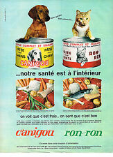 PUBLICITE ADVERTISING 084  1963  CANIGOU RON-RON  patée chien & chat