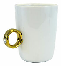 Wedding Engagement 2 Carat Solitaire Swarovski Ring Mug Cup Gold Ring Tea Coffee