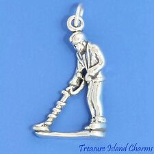 TREASURE HUNTER with METAL DETECTOR 3D .925 Solid Sterling Silver Charm