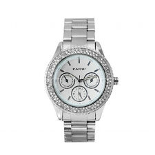 PAIDU Silver Crystal Case Mens Womens Watches Quartz Nightvision Hands White