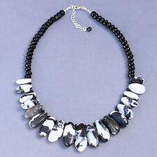 U&C Sundance Black White Jasper Petals Bib Style .925 Sterling Silver Necklace