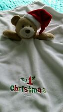 Early days my 1st christmas teddy bear rattle baby comforter soft hug toy.