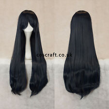 80cm long straight cosplay wig with fringe in darkest blue UK SELLER, Alex style