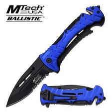 Mtech Ballistic Series Blue Rescue Spring Assist Assisted Knife Knives #A847BL