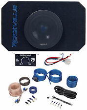 "Rockville RMW8A 8"" 800w Tunnel Slot Ported Powered Subwoofer Enclosure+Amp Kit"