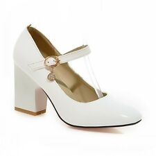 Retro Patent Leather Ankle Strap Block Heel Womens Mary Janes Pumps Shoes OL Hot