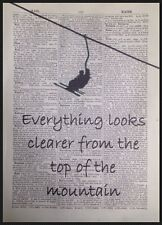 Skiing Snowboarding Quote Vintage Dictionary Wall Art Picture Print Mountain