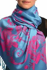 Large Magenta Pink Roses On Blue Pashmina With Tassels (SF002665)
