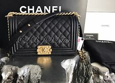 NWT CHANEL 2017 Boy Bag Black Caviar Old Medium GOLD 17C SOLDOUT NEW & AUTHENTIC