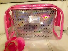 Victoria's Secret Love  PINK Makeup Bag Duo Light Pink Silver Clear Bag