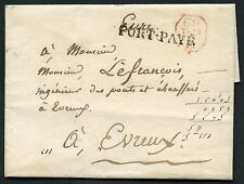 FRANCE STAMPLESS COVER PORT PAYE 60 TO EVREUX AS SHOWN