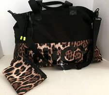 NWT Juicy Couture Sport Tote Black Nylon cross messenger Bag W/ Clutch Leopard