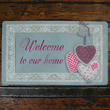 Shabby Chic Welcome to our Home Fabric Door Mat Triple Polka Gingham Lace Hearts