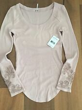 NWT Free People Masquerade Cuff Ombre Thermal Top Shirt  Lilac Pink  M