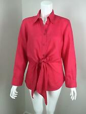 PERRI CUTTEN Watermelon Pink Linen Front Self-Tie Long Sleeve Shirt Size 14