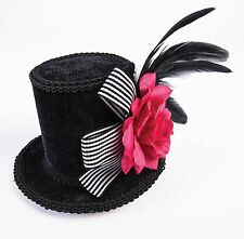 Harlequin Mini Top Hat Black Top Hat w Pink Rose Burlesque Cosplay Adult Size