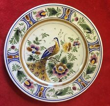 Beautiful Vintage  Hand Painted & Signed Delft Plate Peacock Bird