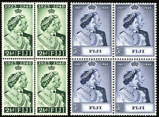 Fiji 1948 Silver Wedding Stamps Scott # 139 & 140 in Blocks of 4 MNH