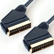 2M SCART MALE TO MALE CABLE LEAD -RGB 21 PIN - GOLD PLATED