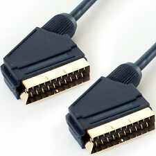 2m SCART macho a Cable Enchufe-oro Completamente Con Cable Pin-Audio y Video TV/DVD RGB de plomo