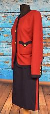 Chanel Boutique Vintage Size 42 Wool Skirt Suit Red&Navy Gold CC Buttons Boucle