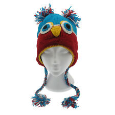 Fun Crazy Owl Handmade Winter Woollen Animal Hat Fleece Lining One Size, UNISEX