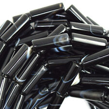 "13mm natural black onyx tube beads 15.5"" strand S2"