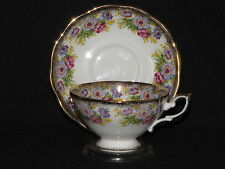 Royal Standard Bone China Teacup and Saucer Set Gold and Purple Floral Tea Cup