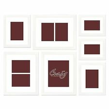 Craig Frames White Picture Frame, 7-Piece Wall Set with White Picture Matting