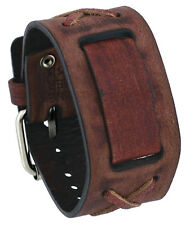 Nemesis BFXB Brown Criss Cross Wide Leather Cuff Watch Wrist Band