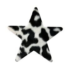 ID 9064 Fuzzy Felt Star Shape with Zebra Animal Print Iron On Applique Patch