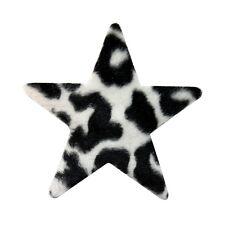 ID 9064 Fuzzy Felt Star Shape with Zebra Animal Print Iron On Applique Patch