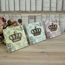 Set of 3 Crown wooden wall freestanding wall plaque shabby vintage chic gift