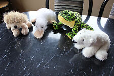 WEBKINZ*Plush/Stuffed/Beanbag*Lot of 4*Bull Frog/Googles/Golden Ret/Polar Bear*