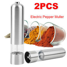 2X Electric Salt and Pepper Grinder Mill Battery Powered Stainless Steel round