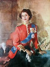 ART PRINT POSTER PAINTING QUEEN ELIZABETH II MILITARY REGALIA PORTRAIT NOFL0880